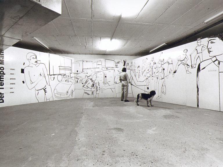 Der Tempo Mann, Der Tempo Mann, schilderij/fekening, olieverf op multiplex 12 x 2,50 m, 1998/1999, getoond in diverse vormen op: beeldende kunstmanifestatie Transformaties Lisserbroek, K.I. Safe, Dalfsen, Stadt Nordhorn, Duitsland en CBK Emmen