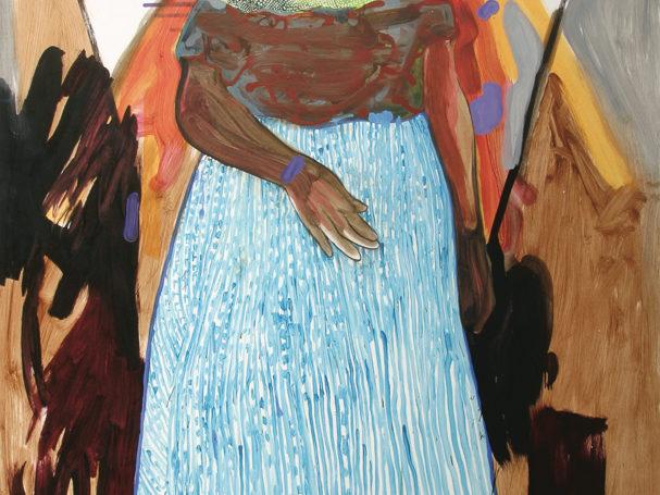 Angst, vissersvrouw, Detail staged painting, installatie tijdens tentoonstelling De Idioot, De Vishal 2004, Haarlem