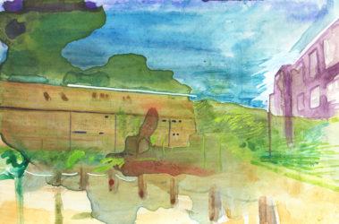 De groeten uit Hoofddorp, Gemengde techniek op MDF, ± 20 x 30 cm