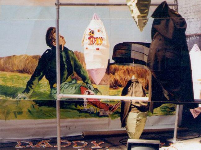 Nicht zuviel Moral das gefallt den Hollandern nicht, staged painting, oil on canvas, steel, objects, text, 5 x 5 x 6 m, 2000, Vier de Kunstvlaai, Westergasfabriek, Amsterdam, 6-14 mei 2000, groupshow