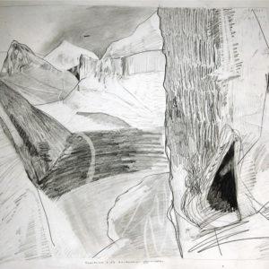 Een Genoegelijk Gemis, Untitled/Nederlandse F16 in Afghanistan, Potlood op papier, 65 x 55 cm, onderdeel van installatie, Tentoonstelling Tracing Places, Janskerk, Haarlem, 2008