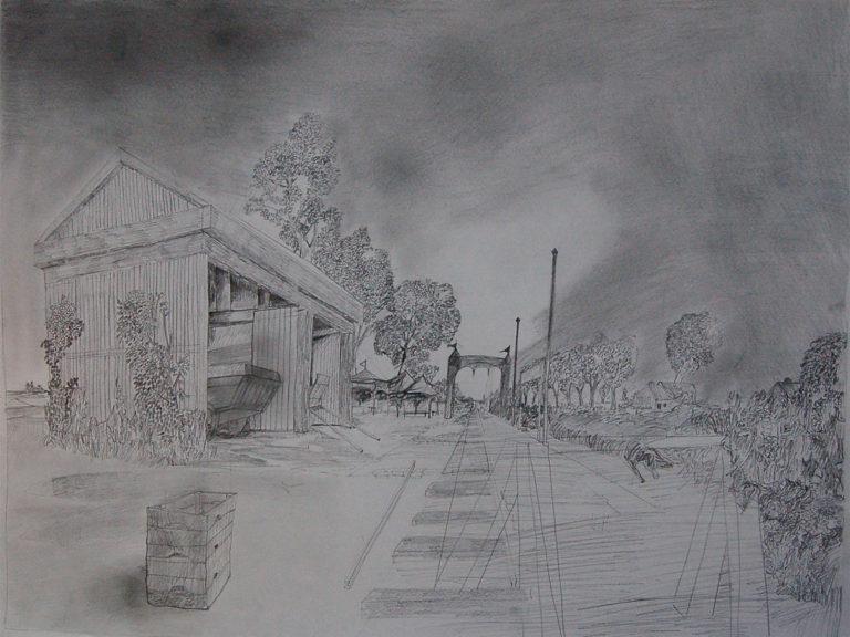 Een Genoegelijk Gemis, untitled/spoortracé Haarlem-Amsterdam, Potlood op papier, 65 x 55 cm, onderdeel van installatie, Tentoonstelling Tracing Places, Janskerk, Haarlem, 2008