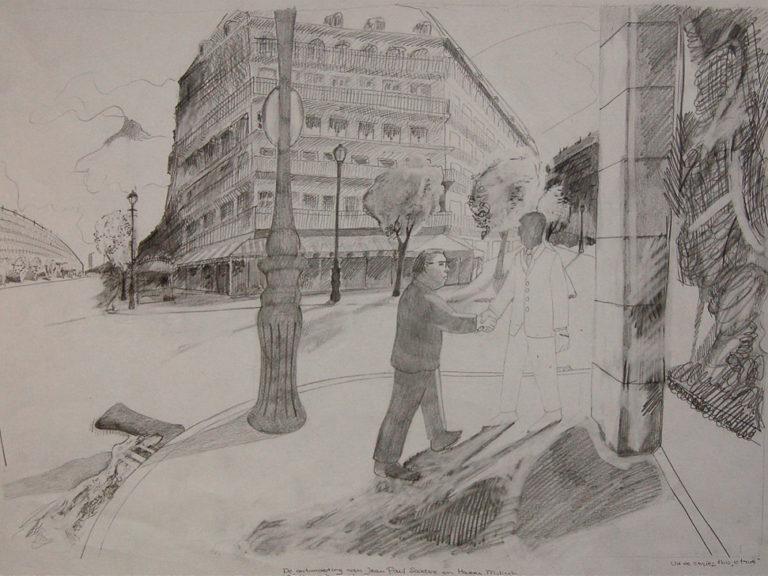 Een genoegelijk gemis, untitled, Mulish en Sartre, Potlood op papier, 65 x 55 cm, onderdeel van installatie, Tentoonstelling Tracing Places, Janskerk, Haarlem, 2008