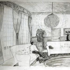 Een Genoegelijk Gemis, Untitled/Humprey Bogart belt McCarthy, Potlood op papier, 65 x 55 cm, onderdeel van installatie, Tentoonstelling Tracing Places, Janskerk, Haarlem, 2008