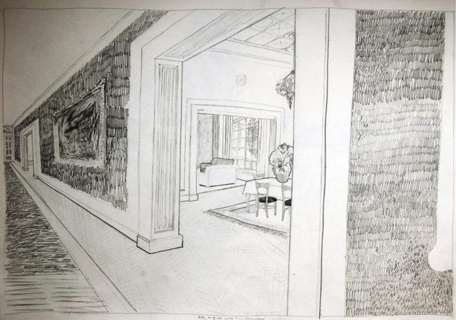 Een Genoegelijk Gemis, Het witte Huis, 8.45 uur 11 september 2001, Potlood op papier, 65 x 55 cm, onderdeel van installatie, Tentoonstelling Tracing Places, Janskerk, Haarlem, 2008
